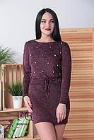 """Платье из ангоры """"Мартина"""" с карманами 42-44, бордовый, фото 1"""