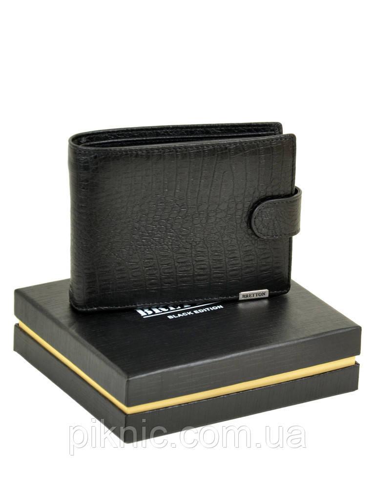 """Большой кожаный мужской кошелек  Bretton. Black Edition """"Рептилия"""""""