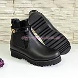 Черевики шкіряні жіночі демісезонні на тракторній підошві, колір чорний., фото 5