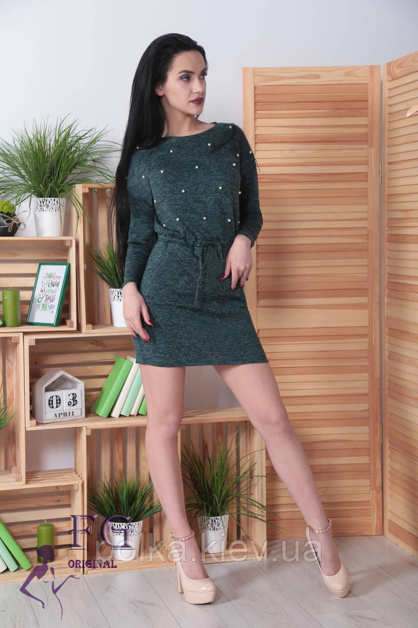 "Платье из ангоры ""Мартина"" с карманами 50-52, темно-зеленый"