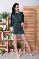 """Платье из ангоры """"Мартина"""" с карманами 50-52, темно-зеленый, фото 1"""