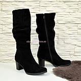Сапоги демисезонные женские на устойчивом каблуке, натуральная черная замша., фото 2