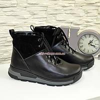 Мужские ботинки на шнуровке, натуральная черная кожа.