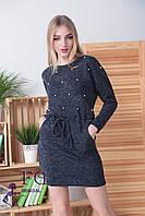 "Платье из ангоры ""Мартина"" с карманами 50-52, темно-синий, фото 1"