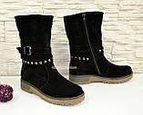 Ботинки замшевые черные женские демисезонные на утолщенной подошве., фото 2
