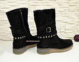 Ботинки замшевые черные женские демисезонные на утолщенной подошве., фото 3