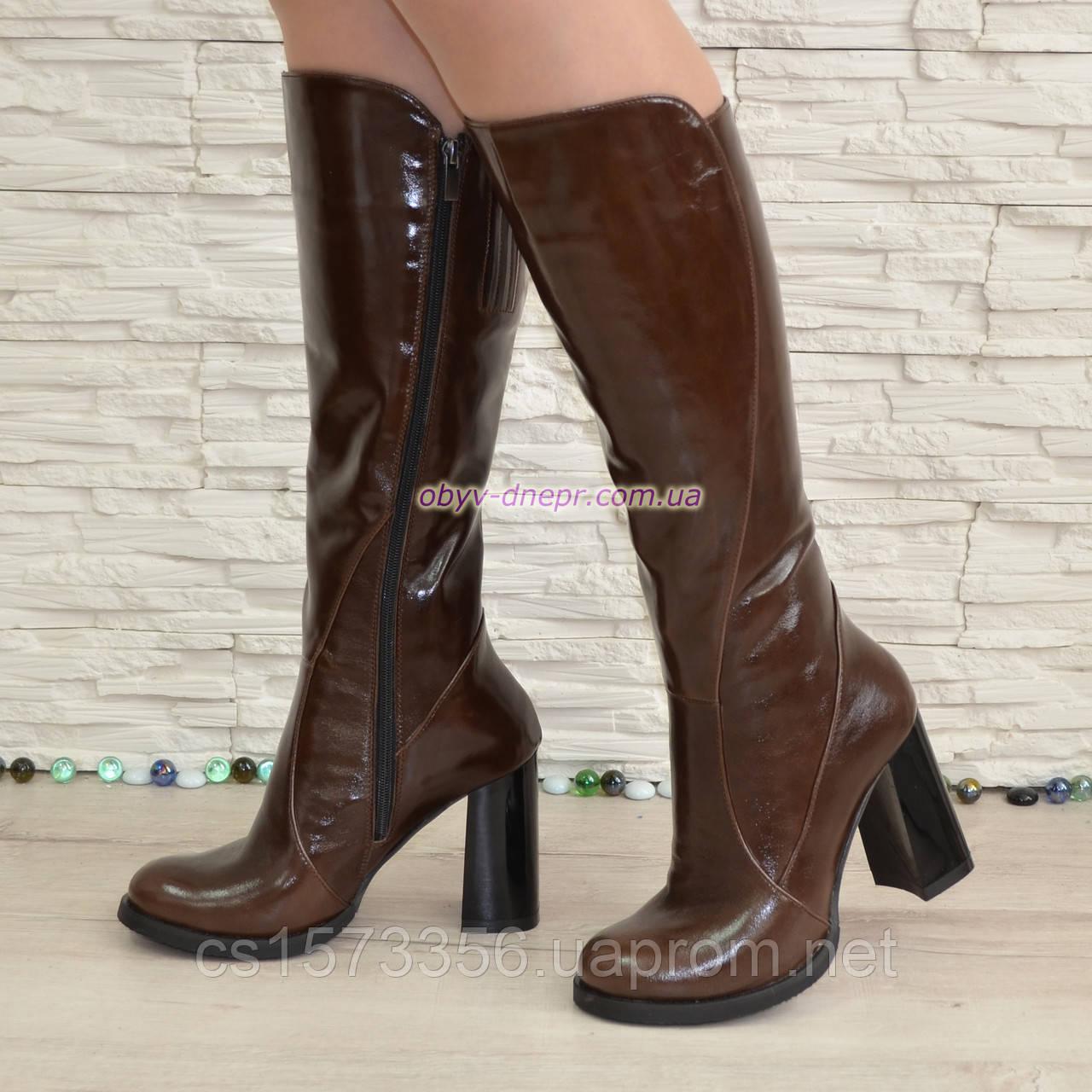 Сапоги женские кожаные демисезонные на высоком устойчивом каблуке, цвет коричневый.