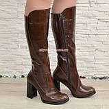 Сапоги женские кожаные демисезонные на высоком устойчивом каблуке, цвет коричневый., фото 2