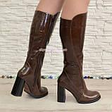 Сапоги женские кожаные демисезонные на высоком устойчивом каблуке, цвет коричневый., фото 3