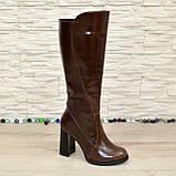 Сапоги женские кожаные демисезонные на высоком устойчивом каблуке, цвет коричневый., фото 4