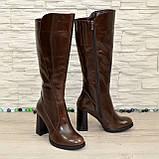 Сапоги женские кожаные демисезонные на высоком устойчивом каблуке, цвет коричневый., фото 5
