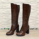 Сапоги женские кожаные демисезонные на высоком устойчивом каблуке, цвет коричневый., фото 6