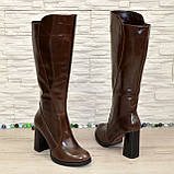 Сапоги женские кожаные демисезонные на высоком устойчивом каблуке, цвет коричневый., фото 7