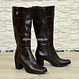 Кожаные женские сапоги на невысоком каблуке, коричневый цвет. Батал!, фото 2