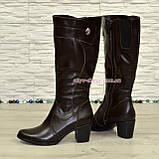 Кожаные женские сапоги на невысоком каблуке, коричневый цвет. Батал!, фото 3