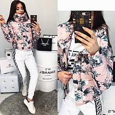 Куртка короткая с принтом цветы, фото 2