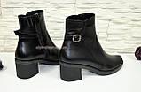 Ботинки черные женские кожаные демисезонные на устойчивом каблуке, фото 3