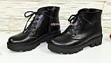 Ботинки демисезонные женские черные кожаные на шнуровке, утолщенная подошва., фото 3