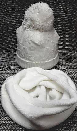 Шапка с хомутом детская  на девочку зима белого цвета MAGROF (Польша) размер 44 46, фото 2