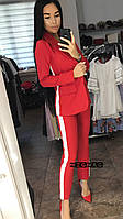 """Брючный костюм с лампасами """"Flex"""" красный, 42, фото 1"""