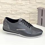 Мужские кожаные кроссовки из натуральной кожи и замши серого цвета, на шнуровке, фото 2
