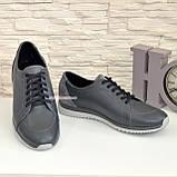 Мужские кожаные кроссовки из натуральной кожи и замши серого цвета, на шнуровке, фото 3