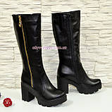 Сапоги кожаные черные женские демисезонные на устойчивом каблуке, декорированы молнией, фото 2