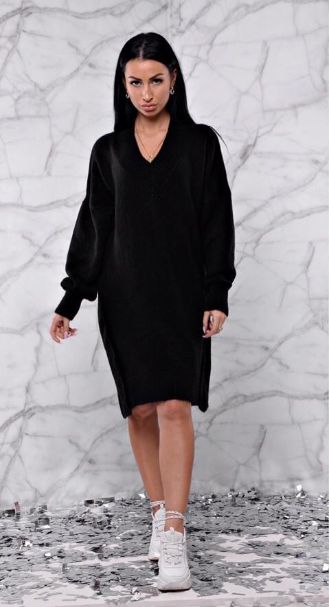 37212fc471b Модное вязаное платье оверсайз 42-46 р черного цвета