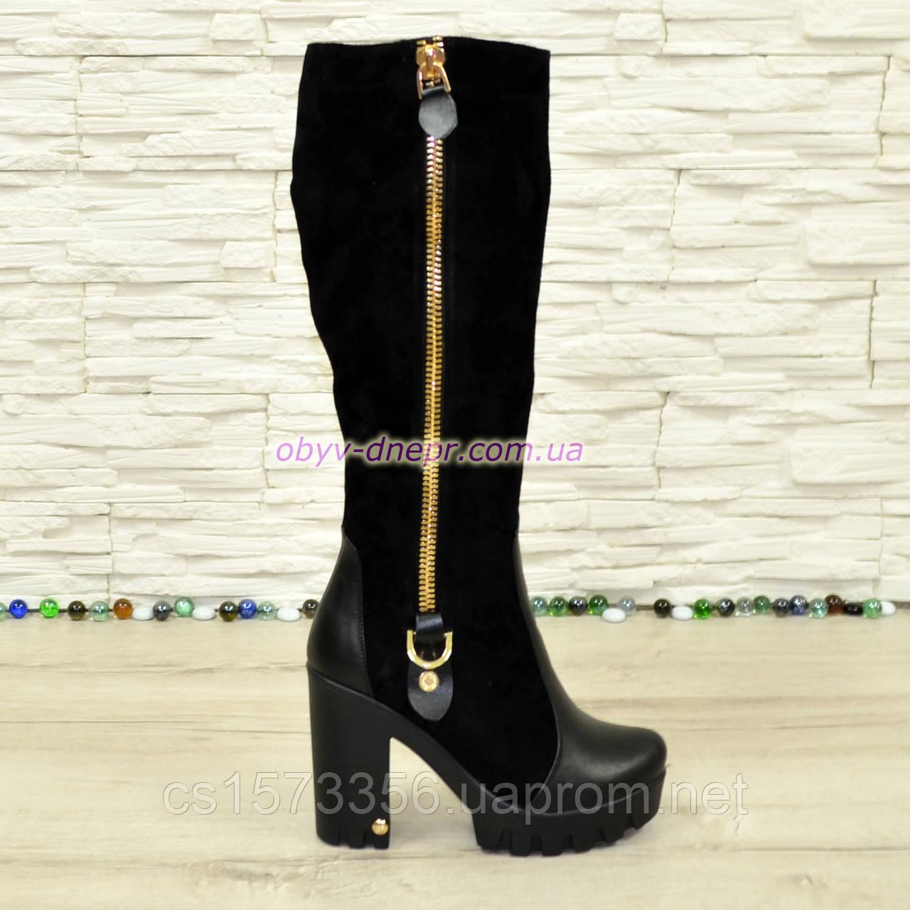 Сапоги демисезонные женские черные на высоком каблуке, натуральная кожа и замша.