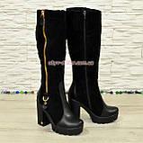Сапоги демисезонные женские черные на высоком каблуке, натуральная кожа и замша., фото 2