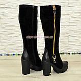 Сапоги демисезонные женские черные на высоком каблуке, натуральная кожа и замша., фото 3