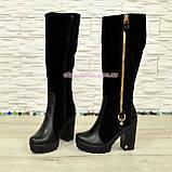 Сапоги демисезонные женские черные на высоком каблуке, натуральная кожа и замша., фото 4