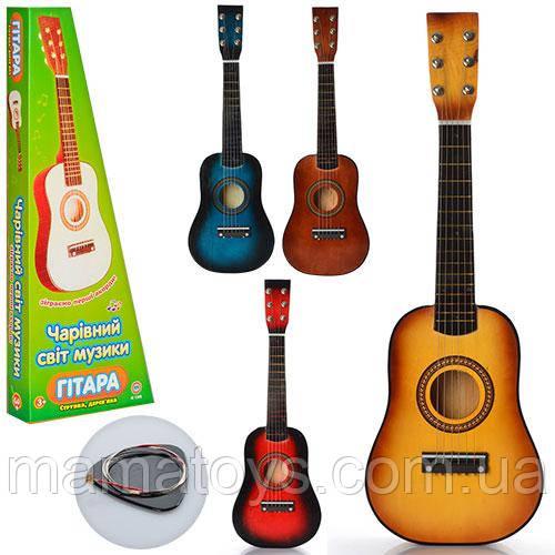 Игрушечная Деревянная Гитара M 1369 Размер 58 см, Запасная струна, медиатор 4 цвета