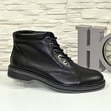 Ботинки кожаные мужские на шнуровке, цвет черный, фото 2