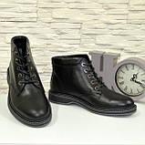 Ботинки кожаные мужские на шнуровке, цвет черный, фото 4