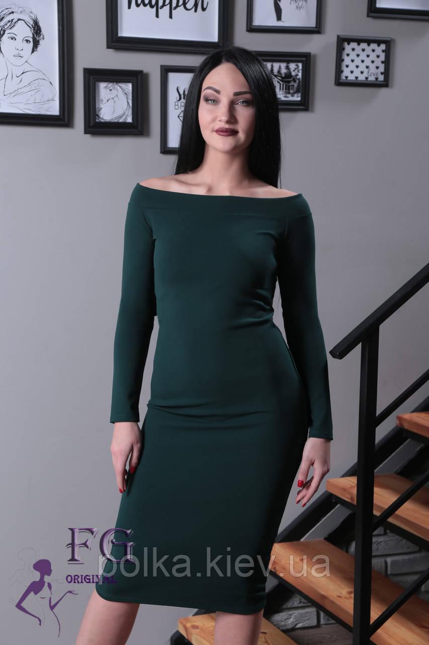 """Платье с открытыми плечами """"Candys"""" 42, темно-зеленый"""