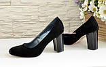 """Женские черные замшевые классические туфли на каблуке. ТМ """"Maestro"""", фото 4"""