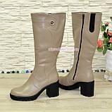 Сапоги женские кожаные на устойчивом каблуке, цвет визон. Батал!, фото 3