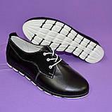 Женские туфли на шнуровке, из натуральной кожи и замши черного цвета, фото 7