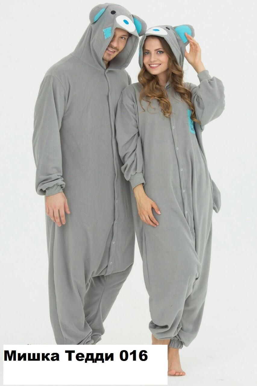 Кигуруми домашняя одежда Мишка Тэдди серый 016 (размер 42-56)