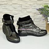 Стильные женские серые ботинки демисезонные на низком ходу, фото 2