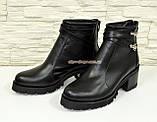 Женские кожаные ботинки демисезонные на устойчивом каблуке, черный цвет., фото 5