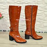Сапоги женские демисезонные кожаные на устойчивом каблуке, цвет рыжий, фото 2