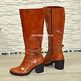 Сапоги женские демисезонные кожаные на устойчивом каблуке, цвет рыжий, фото 3