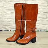 Сапоги женские демисезонные кожаные на устойчивом каблуке, цвет рыжий, фото 4