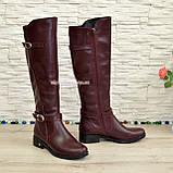 Сапоги высокие демисезонные кожаные на меху, бордовый цвет, фото 2