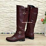 Сапоги высокие демисезонные кожаные на меху, бордовый цвет, фото 3