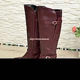 Сапоги высокие демисезонные кожаные на меху, бордовый цвет, фото 4
