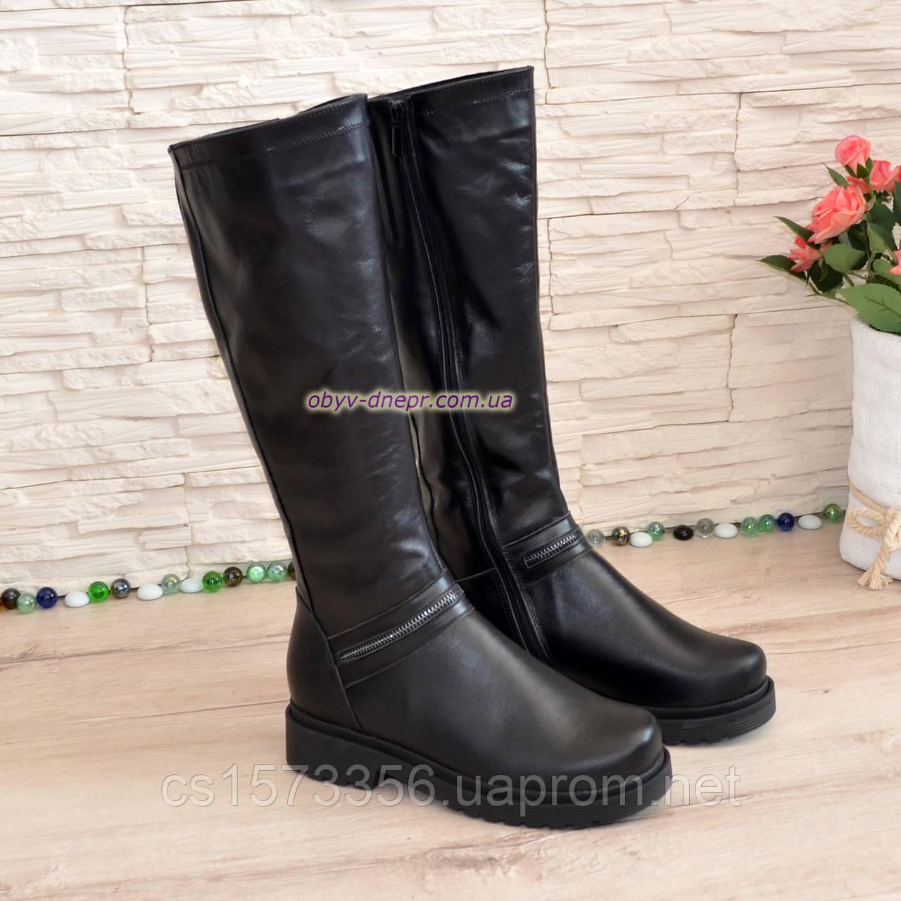 Чоботи жіночі чоботи на товстій підошві, натуральна чорна шкіра