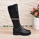 Чоботи жіночі чоботи на товстій підошві, натуральна чорна шкіра, фото 2